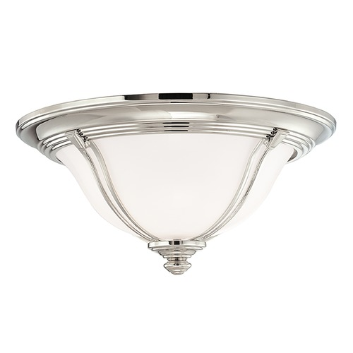 Hudson Valley Lighting Flushmount Light with White Glass in Polished Nickel Finish 5414-PN