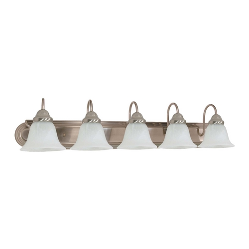 Nuvo Lighting Bathroom Light with Alabaster Glass in Brushed Nickel Finish 60/323