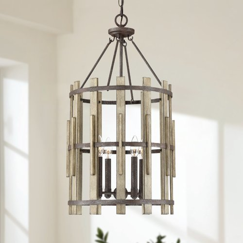 Quoizel Lighting Farmhouse Pendant Light Black Wood Hollow by Quoizel Lighting WHL5204RK