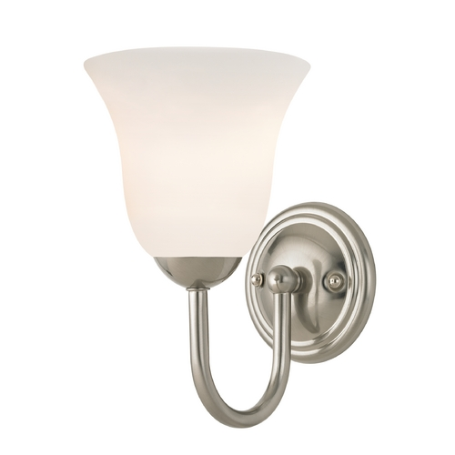 Design Classics Lighting Sconce with White Glass in Satin Nickel Finish 593-09 GL9222-WH