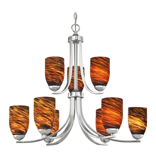 Design Classics Lighting Modern Chandelier with Brown Art Glass in Polished Chrome Finish 586-26 GL1023D