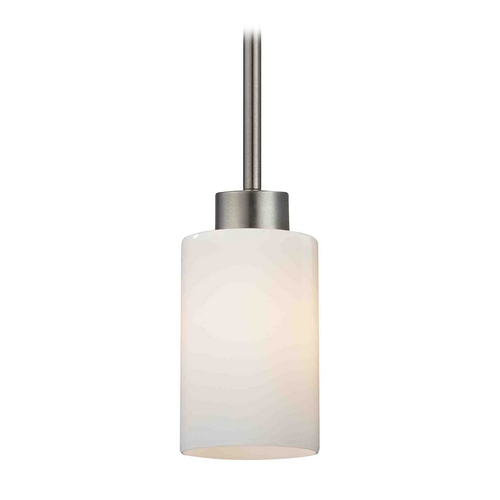 Design Classics Lighting Modern Mini-Pendant Light with White Glass 1123-1-09 GL1024C