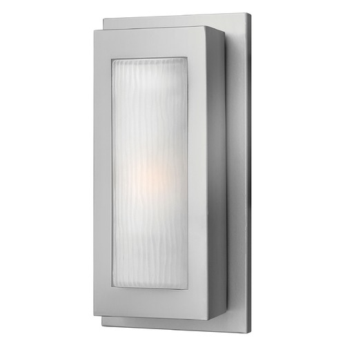 Hinkley Lighting Modern Outdoor Wall Light with White Glass in Titanium Finish 2050TT