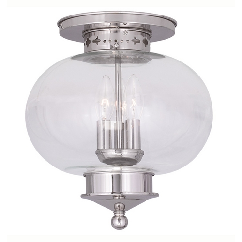 Livex Lighting Livex Lighting Harbor Polished Nickel Close To Ceiling Light 5033-35