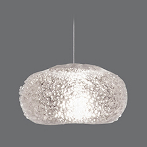 Fine Art Lamps Fine Art Lamps Natural Inspirations Platinized Silver Leaf Mini-Pendant Light with Oblong Shade 852240-12ST