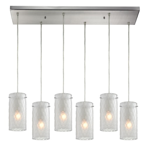 Elk Lighting Elk Lighting Synthesis Satin Nickel Multi-Light Pendant with Cylindrical Shade 10243/6RC-FC