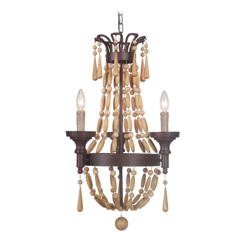 Jeremiah Lighting Jeremiah Lighting Berkshire Aged Bronze/unfinished Light Wood Beads Mini-Chandelier 36823-AG