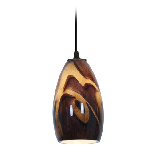 Access Lighting Access Lighting Champagne Oil Rubbed Bronze LED Mini-Pendant Light with Oblong Shade 28012-3C-ORB/ICA