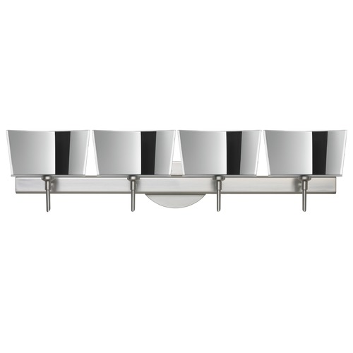 Besa Lighting Besa Lighting Groove Frosted Glass Satin Nickel LED Bathroom Light 4SW-6773MR-LED-SN