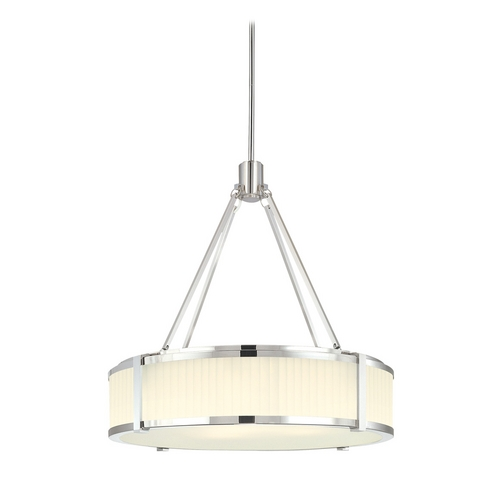 Sonneman Lighting Drum Pendant Light with White Glass in Polished Nickel Finish 4353.35