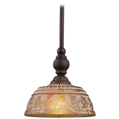 Elk Lighting Mini-Pendant Light with Amber Glass 66194-1