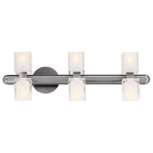 Access Lighting Modern Bathroom Light with White Glass in Brushed Steel Finish 23907-BS/FCL