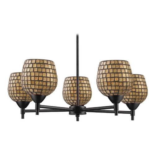 Elk Lighting Chandelier with Art Glass in Dark Rust Finish 10155/5DR-GLD