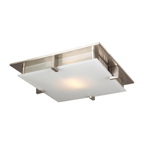 PLC Lighting Modern Flushmount Light with White Glass in Satin Nickel Finish 908 SN