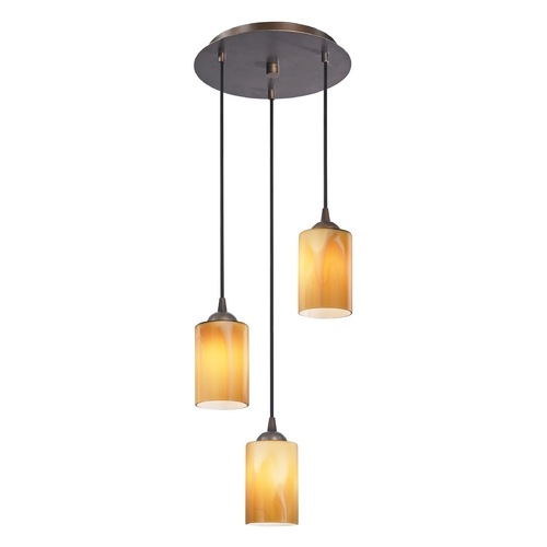 Design Classics Lighting Modern Multi-Light Pendant Light with Butterscotch Art Glass and 3-Lights 583-220 GL1022C