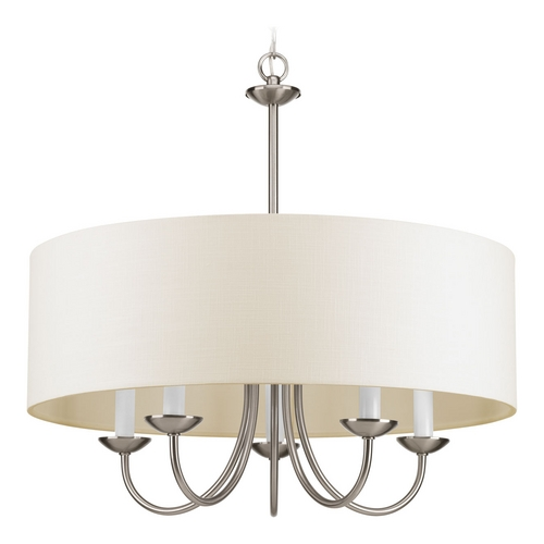 Progress Lighting Drum Pendant Light with Beige / Cream Shades in Brushed Nickel Finish P4217-09