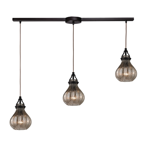 Elk Lighting Multi-Light Pendant Light with Mercury Glass and 3-Lights 46024/3L