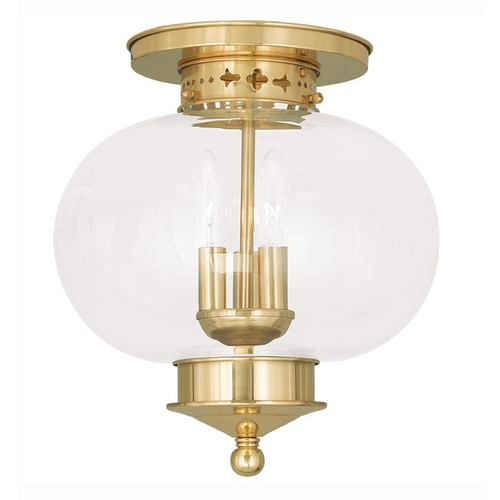 Livex Lighting Livex Lighting Harbor Polished Brass Close To Ceiling Light 5033-02