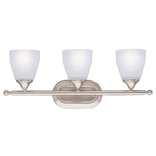 Kichler Lighting Kichler Bathroom Light with White Glass in Brushed Nickel Finish 5448NI