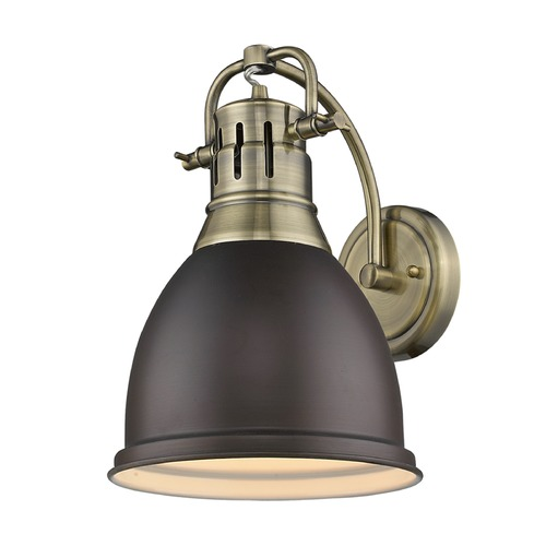 Golden Lighting Golden Lighting Duncan Ab Aged Brass Sconce 3602-1W AB-RBZ