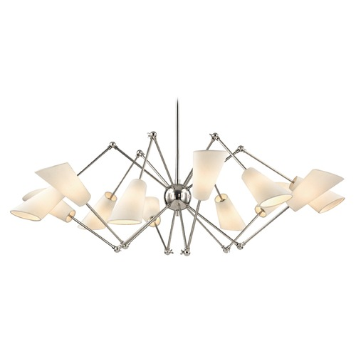 Hudson Valley Lighting Mid-Century Modern Polished Nickel Chandelier 12-Lt Adjustable Arms by Hudson Valley 5312-PN