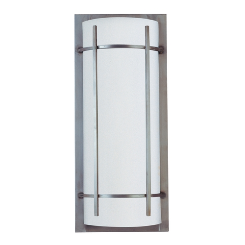 Maxim Lighting Modern Outdoor Wall Light with White in Brushed Metal Finish 85216WTBM
