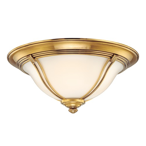 Hudson Valley Lighting Flushmount Light with White Glass in Flemish Brass Finish 5417-FB