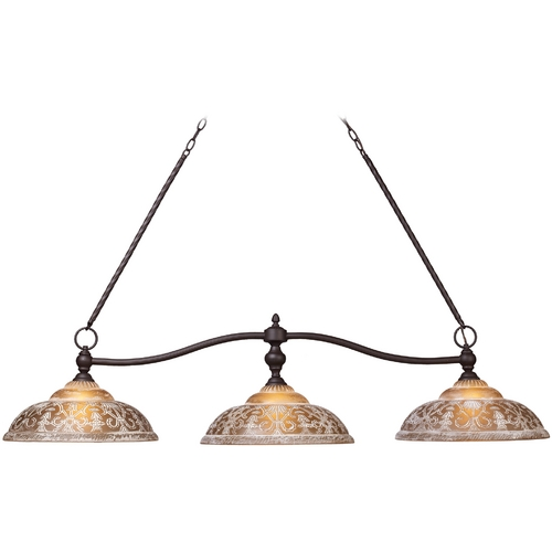 Elk Lighting Island Light with Amber Glass in Oiled Bronze Finish 66195-3