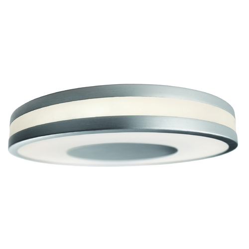 Philips Lighting Modern Flushmount Light with White Glass in Aluminum Finish 326104848