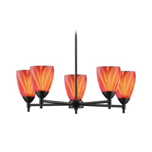 Elk Lighting Chandelier with Art Glass in Dark Rust Finish 10155/5DR-M