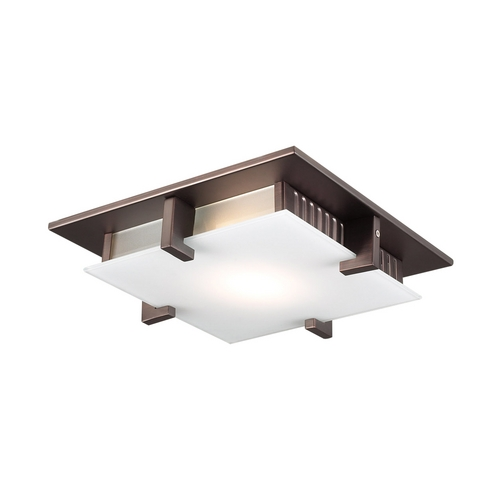 PLC Lighting Modern Flushmount Light with White Glass in Oil Rubbed Bronze Finish 908  ORB