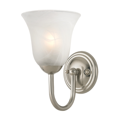 Design Classics Lighting Sconce with Alabaster Glass in Satin Nickel Finish 593-09 GL9222-ALB