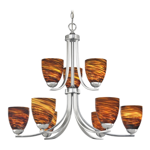 Design Classics Lighting Modern Chandelier with Brown Art Glass in Polished Chrome Finish 586-26 GL1023MB