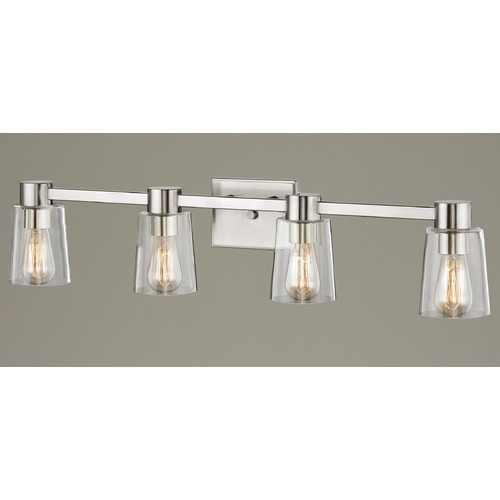 Design Classics Lighting 4-Light Clear Glass Bathroom Light Satin Nickel 2104-09 GL1027-CLR