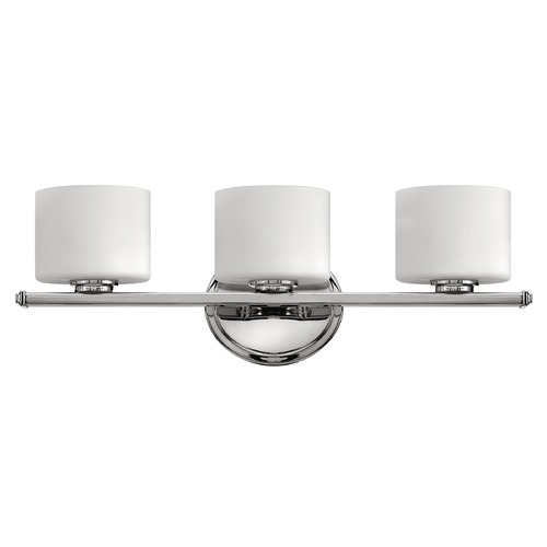 Hinkley Lighting Bathroom Light with White Glass in Chrome Finish 5423CM