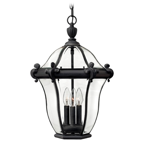 Hinkley Lighting Outdoor Hanging Light with Clear Glass in Museum Black Finish 2442MB