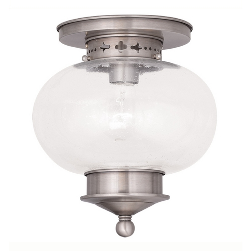Livex Lighting Livex Lighting Harbor Brushed Nickel Close To Ceiling Light 5036-91