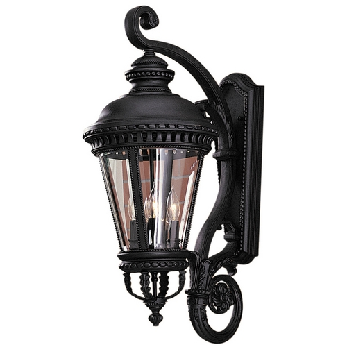 Feiss Lighting Outdoor Wall Light with Clear Glass in Black Finish OL1904BK