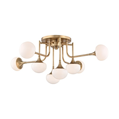Hudson Valley Lighting Mid-Century Modern LED Semi-Flushmount Light Brass Fleming by Hudson Valley 4708-AGB