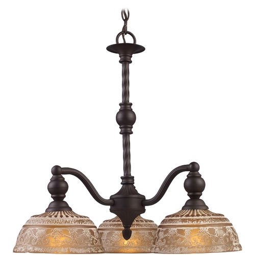 Elk Lighting Chandelier with Amber Glass in Oiled Bronze Finish 66196-3