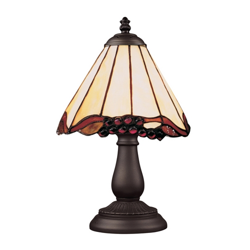Elk Lighting Table Lamp with Tiffany Glass in Bronze Finish 080-TB-03