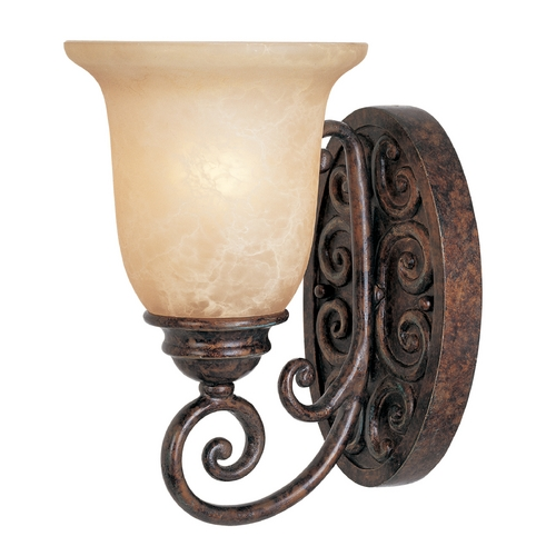 Designers Fountain Lighting Sconce Wall Light with Beige / Cream Glass in Burnt Umber Finish 97501-BU