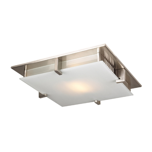 PLC Lighting Modern Flushmount Light with White Glass in Satin Nickel Finish 907 SN