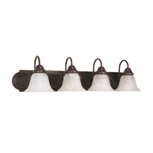 Nuvo Lighting Bathroom Light with Alabaster Glass in Old Bronze Finish 60/326