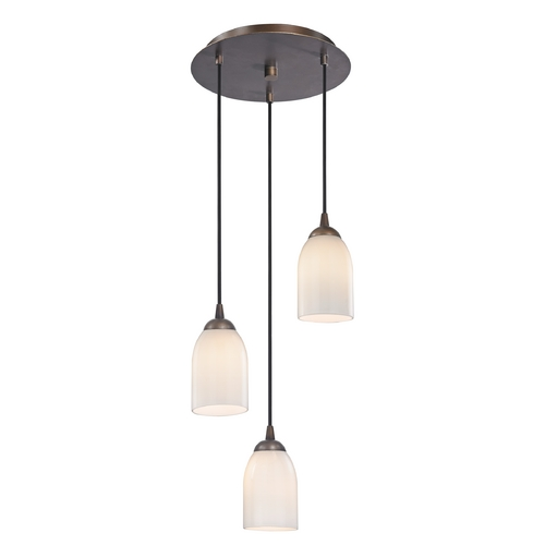 Design Classics Lighting Modern Multi-Light Pendant Light with White Glass and 3-Lights 583-220 GL1024D