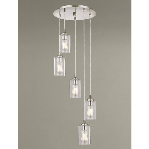 Design Classics Lighting Satin Nickel Multi-Light Pendant with Cylindrical Shade 580-09 GL1041C