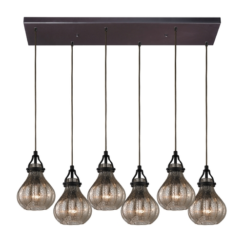 Elk Lighting Multi-Light Pendant Light with Mercury Glass and 6-Lights 46024/6RC