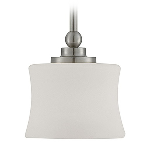 Savoy House Savoy House Satin Nickel Mini-Pendant Light with Cylindrical Shade 7P-7212-1-SN