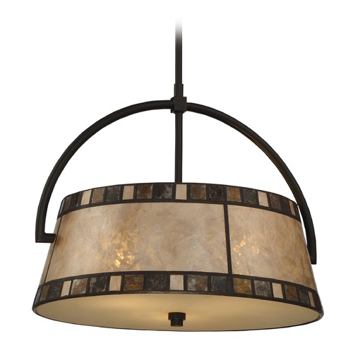 Quoizel Lighting Quoizel Kingsford Teco Marrone Pendant Light with Drum Shade MCKD2819TM