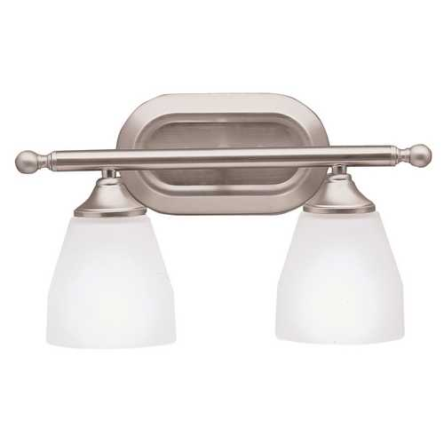 Kichler Lighting Kichler Bathroom Light with White Glass in Brushed Nickel Finish 5447NI